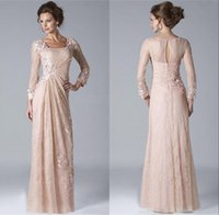 Wholesale Grooms Shirts - 2018 Vintage Champagne Mother of the Bride Groom Dresses Square Neckline Long Sleeved Lace Chiffon Evening Gowns