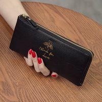 Wholesale Korean Ladies Hand Bags - 2017 new Korean Ladies Purse Leather Handbag long mobile phone money chuck cowhide zipper hand bag tide