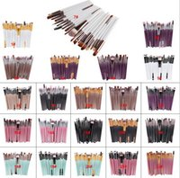 Wholesale Hair Stock - Hot Professional 20pcs Makeup Brushes Set Cosmetic Face Eyeshadow Tools Makeup Kit Eyebrow Lip Brush 20 style in stock