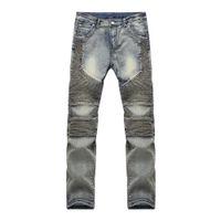 Wholesale Animal Pattern Pants - Wholesale-The new jeans Slim tanned biker jeans men's stretch pants man wrinkle fashion personality men's elastic trousers