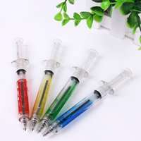 Wholesale Novelty Syringe Pens Wholesale - 4Pcs 4 Colors Creative novelty syringe particular form stationery 0.5mm syringe ballpoint pen reload automatically