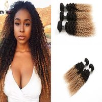 Wholesale Cheap Brazilian Remy Blonde Hair - Peruvian Brazilian Virgin Hair Ombre Kinky Curly Wave Popular 2 Tone Ombre Blonde1B27 2 3 4 Bundles Cheap Afro Kinky Curly Hair Extension