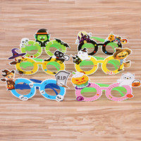 Wholesale costume glasses resale online - New Halloween supplies Paper glass frame Decorative items Adult children