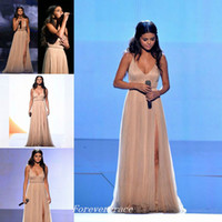 Wholesale Selena Gomez Dress V Neck - High Quality Selena Gomez Red Carpet Evening Dresses Chiffon Sweep Train Formal Special Occasion Dress Party Gown Custom Made Plus Size
