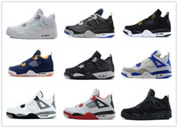 Wholesale Black Military Packs - retro 4 basketball shoes pure money sneakers alternate motorsports royalty white cement bred military blue oreo fear pack black cat 2017