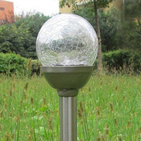 Wholesale Stainless Garden Lights - LED Solar Power Ball Lights 39cm ABS+stainless steel Outdoor Waterproof Home RGB Color Lighting Decorations Landscape Garden Lamp in Yard