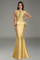 Wholesale 2017 gold satin mermaid evening dresses with lace appliques beaded illusion deep v neckline backless floor length prom gowns