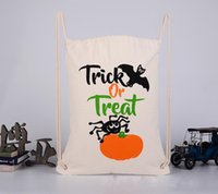 Wholesale 2017 New Designs Halloween Candy Gift Sack Treat or Trick Pumpkin Printed Bat Canvas backpacks Children Party Festival Drawstring Bag
