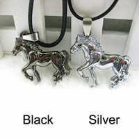 Wholesale Stainless Steel Horse Jewelry - Wholesale-Simple Design Horse Stainless Steel Pendant Unisex Leather Necklace Jewelry Gift