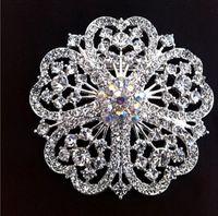 Wholesale Vintage Wedding Corsage - 2 Inch Full Rhinestone Crystal Wedding Floral Brooch Pins Rhodium Silver Tone Vintage Style Corsage Nice Gifts