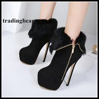 Wholesale Stiletto Heel Fur Boots - Fashion women high heels keep warm thick fur zip side ankle boots size 34 to 40
