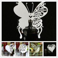 mariposa fiesta suministros decoraciones al por mayor-Al por mayor- Nombre de la tarjeta de visita del corazón de la flor de mariposa de cristal tarjetas de boda del partido de cumpleaños festivo evento decoración de la mesa suministros blanco 50pcs