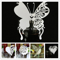 ingrosso butterfly party supplies-Wholesale- Place Name Card Cuore Farfalla Flower Glass Wedding Cards Festa di compleanno Festive Event Table Decoration Supplies Bianco 50pz
