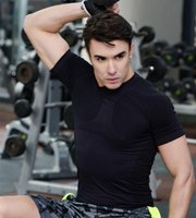 Wholesale Skin Shorts - Hot Men's Short Sleeve Layer T-Shirts Skin Tops Body Armour Man Fitness Gyms Clothing Shirts