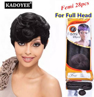 kısa insan saçı örgüleri toptan satış-Femi remy insan saçı 28 adet / grup kısa saç atkı yumuşak ve sağlıklı Hiçbir arapsaçı dökülme siyah kadınlar için Brezilyalı saç örgüleri