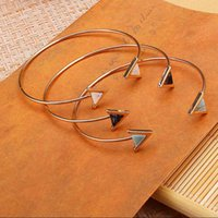 Wholesale Bangle New Fashion Jewelry Hot bangle bracelet for women love Retro K Gold Plated opening triangle Resin gift
