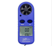 anemómetro al por mayor-Mini anemómetro digital Velocidad del viento Medidor de temperatura Probador Anemometro con pantalla de retroiluminación LCD
