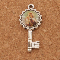 Wholesale Enamel Key Charm - 100pcs lot Enamel Our Lady of Guadalupe And Baby Jesus Icon Medal Key Charm Beads Antique Silver Pendant L1751
