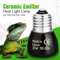 Wholesale Wholesale Ceramic Heat Emitter - Wholesale-Best Price Black E27 25W 50W 75W 100W Mini Infrared Ceramic Emitter Heat Light Lamp Bulb For Reptile Pet Brooder 110V 220V