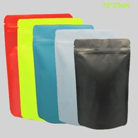 Wholesale Metallic Zip - 100Pcs Stand Up Matte Mylar Bag Heat Sealable Zip Lock Pouch Doypack Pure Aluminum Foil Bags Coffee Package Metallic Bag