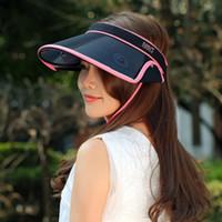 Wholesale Plastic Sun Visor Clips - Women Chic Clip-On Retractable Visor Sun Hat Summer Wide Brim Cap UV Protection Outdoor Hat Adjustable size