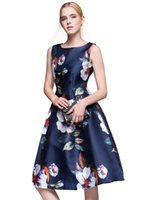 Flora Printed Dresses pajamas ball - New Fashion Casual Collar Clothes Summer Floral Print Retro Leisure Party Pajamas Retro Dresses Blue Flowers Flowers Retro Puff Pants