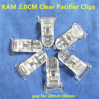 Wholesale Suspenders Plastic Clips - Wholesale-50pcs 20mm Clear Transparent KAM Plastic Baby Pacifier Dummy Soother holder Chain Clips Suspenders Clips for 2.0cm ribbon