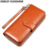 Wholesale Leather Womens Pouch Wallet - Wholesale- 2017 Fashion Women Leather Wallets Lady Clutch Bag Female Coin Purses Holders Coin Pouch Change Purses Womens Wallets Monederos