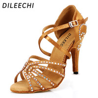 Wholesale Sneaker Dance - TOP Sneakers DILEECHI female Bronze red satin Latin dance shoes women's Rhinestones Salsa party Wedding shoes10cm high heeled soft outsole
