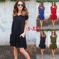 Wholesale Cozy Summer Dress - Casual Pockets Loose Boho Dress Fashion Women V Neck Short Sleeve Summer Autumn Cozy Mini Robe