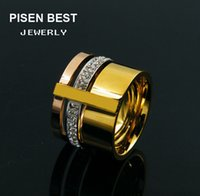 Wholesale Top One China - Hot Sale Top Quality 316L Stainless Steel Rings With 3 colors plated in one Fashion Wedding Jewelry Free Shipping PS4313