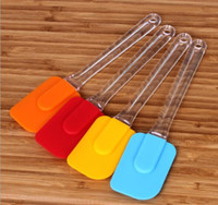 Wholesale Kitchen Spatula Wholesale - 40pcs lot, High Quality 18.5cm Transparent plastic handle Kitchen Cake Scraper Premium Silicone Spatula Baking Bakeware Tool