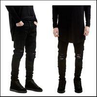 Wholesale Mens Black Classic Straight Jeans - Wholesale-Mens Ripped Skinny Straight Slim Elastic Denim Fit Biker Jeans Pants Long Pants Stylish Straight Slim Fit Jeans