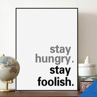 Wholesale Free Photo Poster - Free shipping novelty gift Steve Jobs stay hungry stay foolish encourage words pattern home cafe decorative hanging poster photo picture