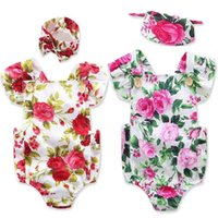Wholesale Jumpsuit Big Flower - New Baby INS Flower Rompers Girl Cotton Printed Romper +Big Bows Headbands 2pcs sets Baby Girls Kids Jumpsuits Baby Clothes Summer Rompers
