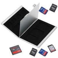 память на карте памяти оптовых-12 в 1 алюминиевый ящик для хранения сумка карты памяти случае держатель бумажник большой емкости для 4 * SD Micro SD SDHC SDXC MMC 8 * TF SIM-карты
