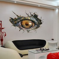 Wholesale Dinosaurs Wall Sticker - 3D Effect The Dinosaur Eye Creative Wall Stickers 70*50cm PVC Home Decoration Wallpaper Mural For Living Room and Study