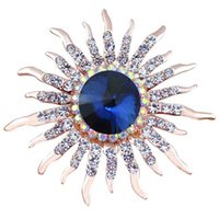 sun flower brooch Australia - Wholesale- Elegant Women Sun Flower Brooches pins ladies Crystal Blue Brooches broches mujer for women party christmas gift jewelry pins