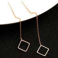 Wholesale fashion circle long earrings - Gold Color Round Circle Love Heart Square Long Dangle Earrings Fashion Jewelry For Women Fashion Women Earrings KQ