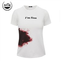 Wholesale Top Fahsion - Wholesale-Free Shipping 2016 new Fahsion red blood Graffiti Print White Shirt For Unisex Relaxed Simplicity Summer Tops T-shirts