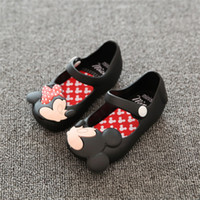 Wholesale Wholesale Footwear Heels - New Summer Child Shoes Mini Sed Style Mickey Minnie Kids Toddler Baby Footwear Little Girls Crystal Jelly Shoes Children Beach Sandals