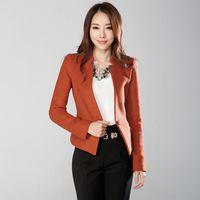 Wholesale Korean Long Blazers For Women - 2017 Spring Slim Blazer Women Jacket Office Suits Work Wear Korean Suit For Women Blazer Casacos Feminino Office Suits Office Suits 50N0034