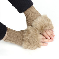 Wholesale Wholesale Fingerless Gloves Cotton - Wholesale- Winter Cotton New Warm Gloves For Women Faux Rabbit Fur Wrist Fingerless Women's Gloves Mitten Women's Winter De163