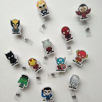 Wholesale Retractable Key Clip - 12pcs Batman Captain American Cartoon Retractable Lanyard ID Card Badge Holder Reels with Clip Keep ID Key Cell phone Safe