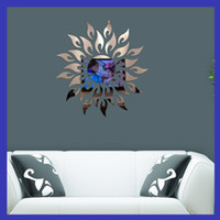Wholesale Metal Murals - Wall Stickers 3D Mural Painting Sunflower Mirrors Plane Living Room Bedroom Paste Decoration Minute Surface Sticker Background New 10rd