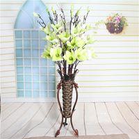 Wholesale Magnolia Blue - Artificial flowers sitting room ground decorative flower art flower arranging household decoration Long branch magnolia flower wholesale