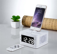 Wholesale Docking Station Stereo For Iphone - T7 Bluetooth Radio Alarm Clock Speaker System with LCD Screen Music Dock FM PLL Charger Station Stereo Speaker for iPhone 7 8 6 6s ipod