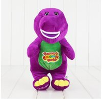 muñecas de amor de felpa al por mayor-Canto Amigos Dinosaurio Barney Sing I LOVE YOU Plush Muñeca Juguete Regalo de Navidad Para Niños Juguetes de Dinosaurios 28 cm KKA2791
