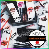 Wholesale Matte Velvet - KYLIE JENNER Lip Gloss Lip Liner KYLIE Kits Make Up 41 Color Matte Liquid Lipstick Set Lip Velvetine In Red Velvet Makeup Clone