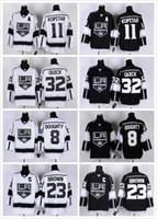 nhl jersey barato al por mayor-LA Los Angeles Kings NHL Hockey # 8 Drew Doughty 11 Anze Kopitar 32 Jonathan Quick 23 Dustin Brown Black Blanco Jerseys baratos
